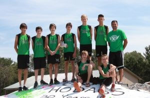 Members of the 2016 Hodag boys' cross country team are, in front, Tyler Kolasa, left and Bridger Flory. Back row, from left, Robert Ritchie, Robert Masini, Levi Smith, Konnor Kennedy, Marcus Johnson, Daniel Ritchie, Coach M. J. Laggis. Not pictured, Bryce Schickert.