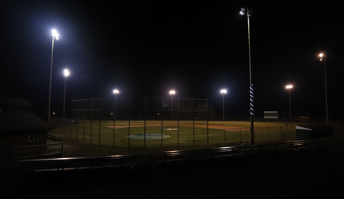 An empty baseball field is illuminated for 20 minutes last weekend.