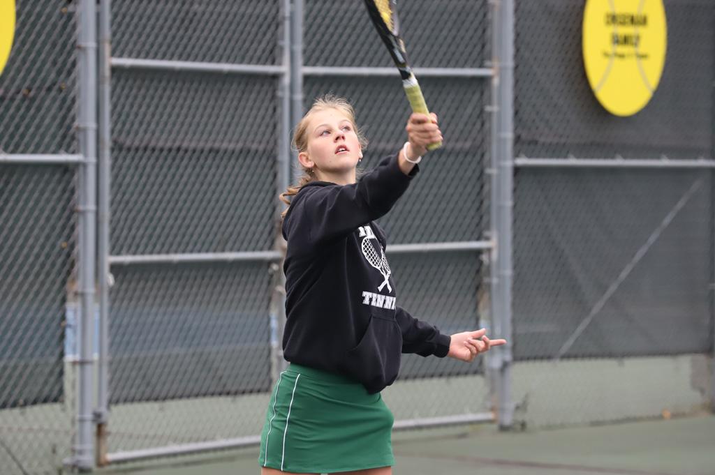 Kaylee Pontel, No. 2 singles, serves in her win.