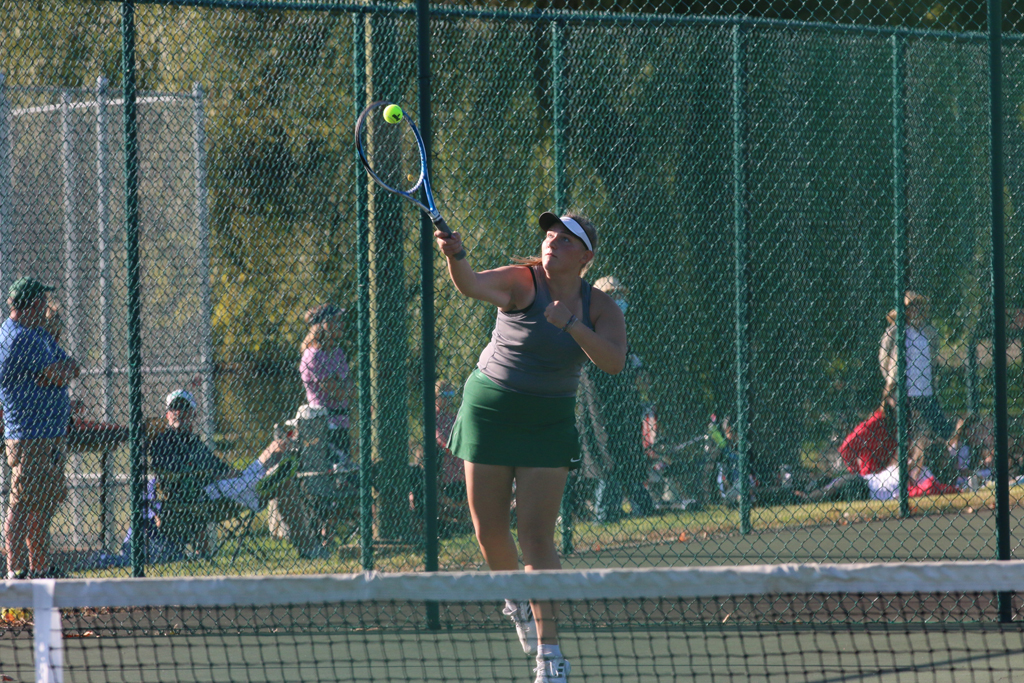 Kylee Younker serves at No. 2 doubles.